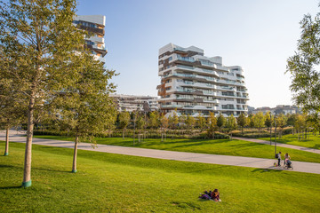"""MILAN, ITALY, OCTOBER 13, 2017 - New modern building condo of """"City Life"""" business and residential district, """"Tre Torri"""", Milan, Italy"""