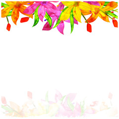 Beautiful watercolors flowers decorated background.