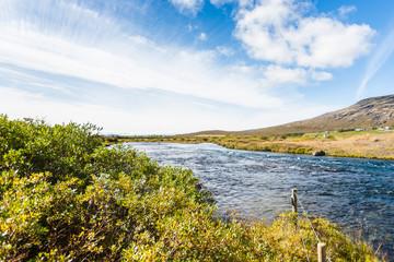 riverbed of Bruara River in Iceland in september