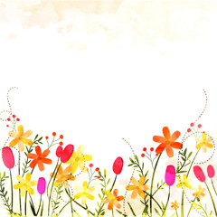 Beautiful colorful flowers on abstract background and space for your text.