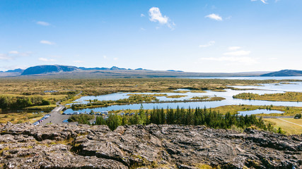 above view of valley in Thingvellir national park