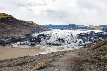 hiking path to Solheimajokull glacier in Iceland