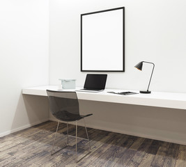 Desktop with empty laptop in modern interior