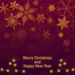 Christmas and New Year background. gold snowflakes and claret red background