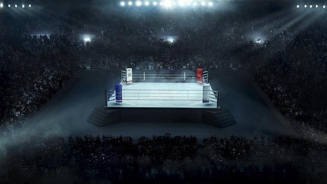 Boxing arena with stadium light