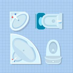 Bathroom Interior Design on Vector Illustration