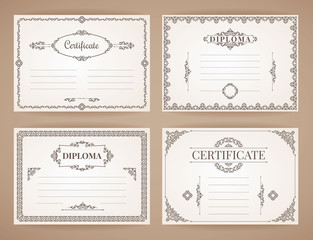 Vector Design Templates Collection for Diploma, Certificate, Posters and other use.
