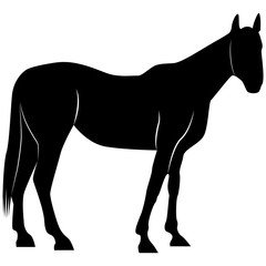 Picture of a horse silhouette for retro logos, emblems, badges, labels template vintage design element. Isolated on white background