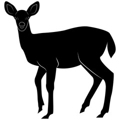 Vector image of a silhouette fallow deer for retro logos, emblems, badges, labels template vintage design element. Isolated on white background