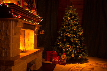 Beautiful house decorated for Christmas interior with fireplace