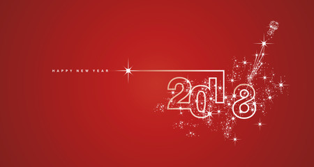 New Year 2018 line design firework white red vector