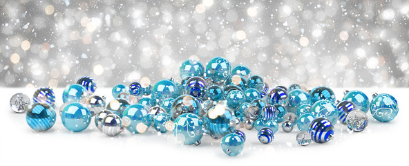 Blue and white christmas baubles 3D rendering