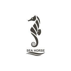 icon of seahorse on isolated white background