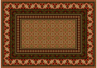Luxurious colorful old design carpet with ethnic ornament with red patterns to border in light brown shades