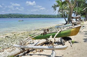 Wall Murals Green coral Wooden Boats on Wala Island, Vanuatu