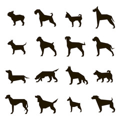 16 vector icons of dog silhouettes