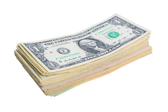 a bundle of one-dollar bills