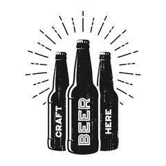 Textured craft beer pub, brewery, bar logo design.