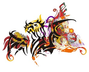 Grunge tribal winged dragon splashes. Majestic horned dragon with open wings symbolizing power and courage. Suitable for team Mascot, corporate identity, community identity, product identity, etc.