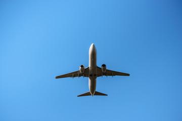 青空を滑空する旅客機