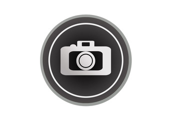 Icono negro de cámara de fotos.