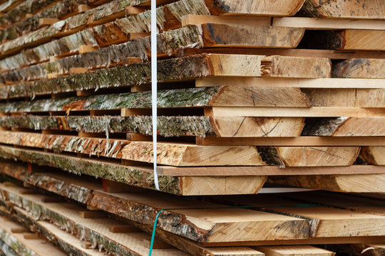 Pile of birch boards. Wood drying.