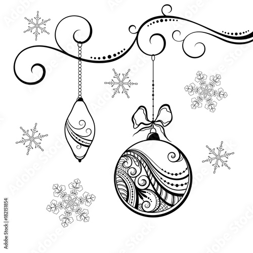 Hanging Christmas Ornaments Silhouette.Silhouette Of Christmas Decorations With Beautiful Lace