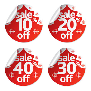 Christmas stickers sale set with fir tree