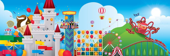 Vector Illustration of amusement park with fantasy theme and mountain background.