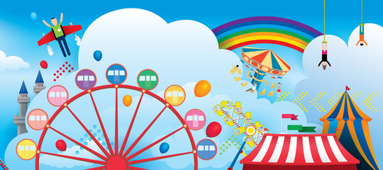 Vector Illustration of amusement park with fantasy theme and rainbow in the sky background.