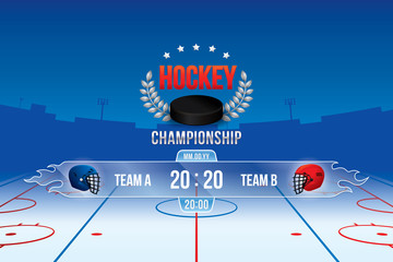 Vector of ice hockey championship with team competition and scoreboard.