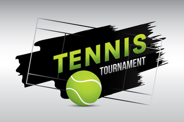 Tennis tournament badge design with ball on court.