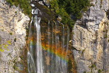 Waterfal Boka with a rainbow, Triglav National Park, Slovenia