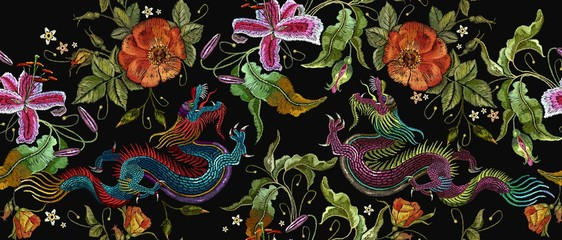 Embroidery two chinese dragons and roses flowers seamless pattern. Classical embroidery asian dragons and beautiful red roses vector. Art dragons t-shirt design. Clothes, textile design template