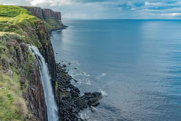 lands between sky and ocean panorama of Scotland in England in summer