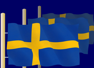 Swedish flags on the flagpoles