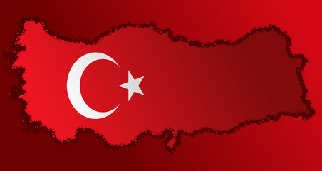 Turkish flag with a contour of borders