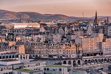 sunset in Edinburgh Castle in Scotland during the August festival