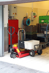 Pallet Jack With Crates