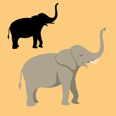 elephant flat style vector illustration profile side