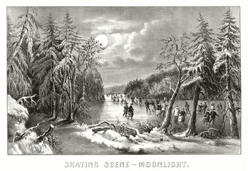 People skating on frozen lake at moonlight surrounded by a snowy landscape. Old illustration by Currier & Ives, publ. in New York, 1868