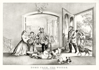 Men backing home after lucky hunting. Indoor scene in a beautiful ancient rich house. Old illustration by Currier & Ives, publ. in New York, 1867