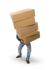 Man carrying heavy boxes, included clipping path
