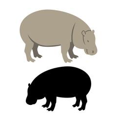 hippo flat style vector illustration black silhouette