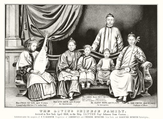 Chinese traditional family sitting on a long sofa and holding musical instruments. Big curtains on background, indoor context. Old illustration by Currier, publ in New York,  ca. 1850