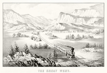 Train running along the railroad in a western valley passing close to little houses. Canyon on background. Old illustration by Currier & Ives, publ. in New York, 1870