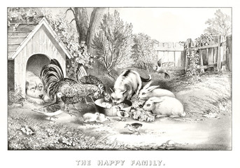 Pets and other animals eating pacefully from the same bowl. Splendid Outdoor context. Old illustration by Currier & Ives, publ. in New York, 1869