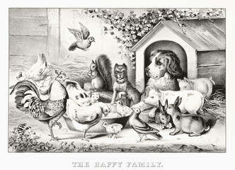 Pets and other animals eating pacefully from the same bowl. Outdoor context. Old illustration by Currier & Ives, publ. in New York, 1869