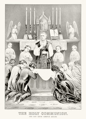 Priest celebrating the Holy Communion during a Mass. Symmetric composition of people weating for the Eucharist, altar boys on background. Old illustration by Currier & Ives, publ. in New York, 1873