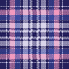 Blue pink check plaid pixel seamless pattern